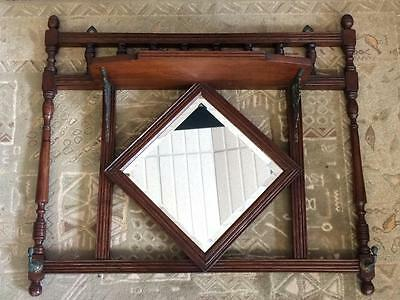 Antique Wooden Wall Hanging Edwardian Carved Oak Shelved Bevelled Hall Mirror