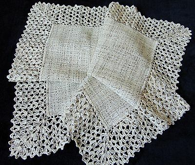 Vintage Hand Crochet Edges Rustic Flax & Hemp Blend Unused Tablecloth 81 X 80 Cm