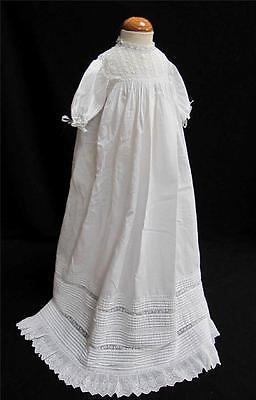 ANTIQUE VICTORIAN EMBROIDERED VALENCIENNES LACE BABY CHRISTENING GOWN c 1890