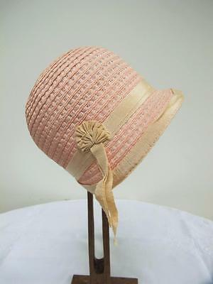 ORIGINAL VINTAGE 1920's YOUNG GIRL'S BABY PINK STRAW & CREAM ROSETTE CLOCHE HAT