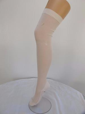 PAIR of ORIGINAL VINTAGE 1920's FLAPPERS CREAM WOVEN SILK SEAMED STOCKINGS
