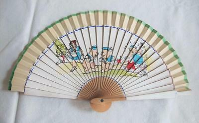 VINTAGE 1940's CHILDREN'S NURSERY PRINTED WOOD HAND FAN - THREE LITTLE PIGS