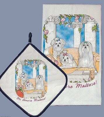 Dish Towel & Pot Holder - Maltese DP983