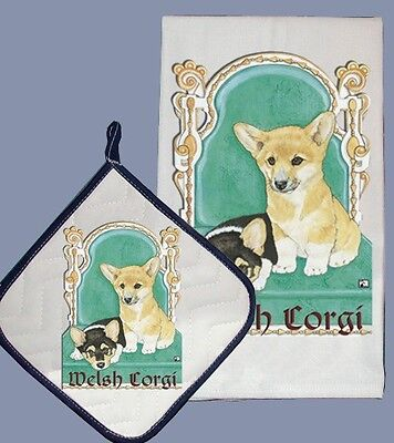 Dish Towel & Pot Holder - Pembroke Welsh Corgi Puppy Pair in Chair DP887