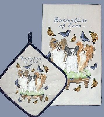 Dish Towel & Pot Holder - Papillon Trio DP986