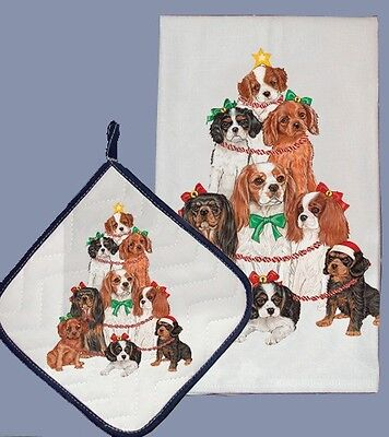 Dish Towel & Pot Holder - Cavalier King Charles Spaniel Holiday DPC553