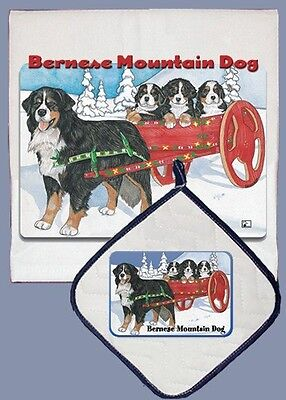 Dish Towel & Pot Holder - Bernese Mountain Dog With Cart DP965