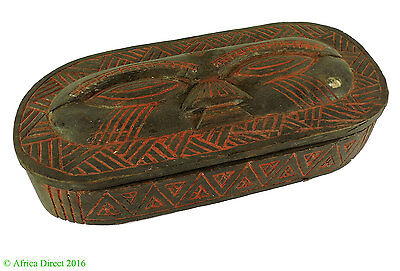 Kuba Lidded Box with Face African Art SALE WAS $69