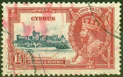 Cyprus 1 1/2pi Dp Blue & Scarlet SG145I Kite & Horiz Log Variety Used Scarce