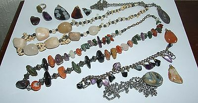 Vintage Mixed Lot Collection Polished Stone & Agate Jewellery Necklaces Pendants