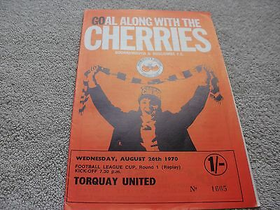 Bournemouth & Boscombe v Torquay United  26/8/70.  FL Cup 1st Round Replay.