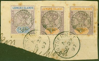 Leeward Is 1897 Jubilee 21/2d & 4d SG11 & 12 Good Used Part Cover Montserrat CDS