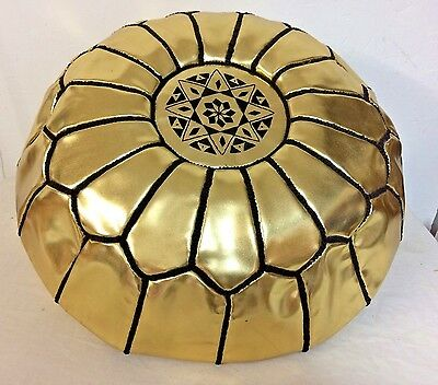 Fabulous gold pouffe. Moroccan leather pouf footstool. Ethnic