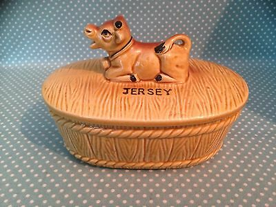 Retro/Vintage Jersey Pottery butter dish with cow finial.