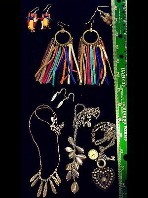 LOT OF 7 Vintage Jewelry Designer Necklaces Earrings Metal Leather Glass More #H