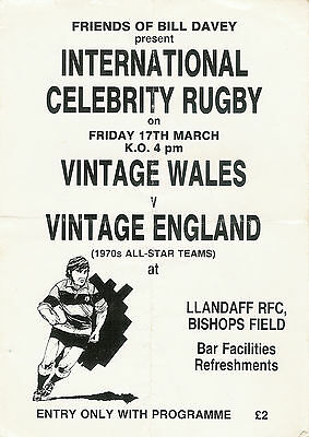 Wales v England veterans / classic 17 Mar 1989 RUGBY PROGRAMME