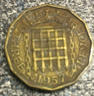 Threepenny bit Coin 1957 brass