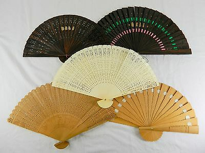 Lot #1 Of 5 Vintage Folding Hand Fans - 4 Wood And 1 Bone