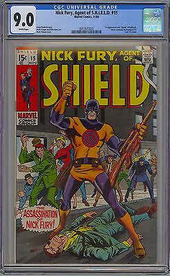 Nick Fury, Agent of Shield #15 CGC 9.0 VF/NM Wp 1st Bullseye Marvel Comics 1969