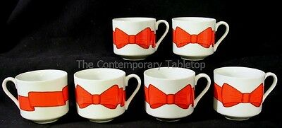 Fitz & Floyd HOLLY WREATH (6) Red Bow Cups Christmas holiday dinnerware