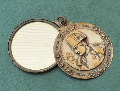 NAPOLEON BONAPARTE - ANTIQUE Silver Plated HANDBAG VANITY MIRROR - c.1900 France