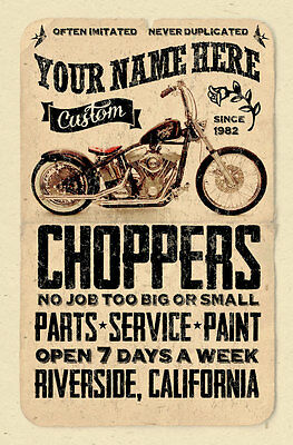 YOUR NAME on Custom Chopper shop poster Personalized - motorcycle print
