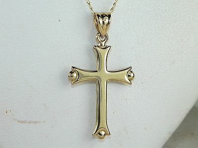 14k Yellow & White Gold Reversible Cross Pendant Necklace-18""