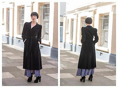 Rare Vintage Mid 70s does 30s Ossie Clark Couture Black Velvet Wrap Dress Coat