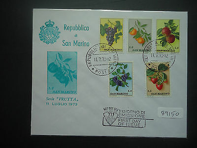San Marino 1973 Fruits (5v Set) (Unaddressed) First Day Cover