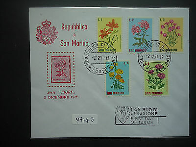 San Marino 1971 Flowers (5v Set) (Unaddressed) First Day Cover