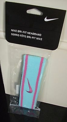 Bnip Genuine Nike Blue Pink Dri Fit Sweatband Headband Tennis Badminton
