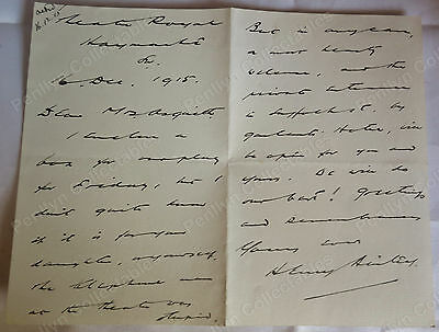 Henry Ainley 1915 Letter To Mrs Asquith