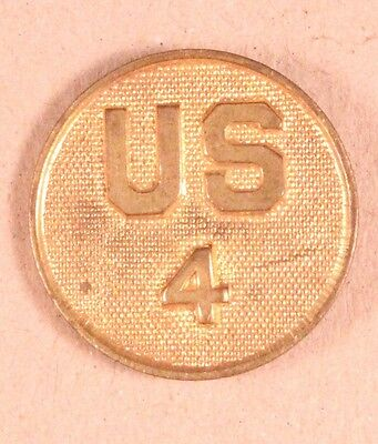 Army Enlisted Collar Pin:  US/4, 4th Infantry Regiment - WW1/1920 era