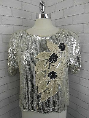 Vintage 1980s Ladies Silver & Black Beaded Sequinned Pure Silk Top Blouse XL