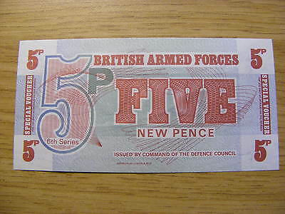 6th Series British Armed Forces 5 Pence Banknote - UNC