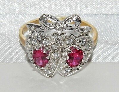 Edwardian 9ct Yellow Gold on Silver Ruby & Zircon Sweet heart Bow Ring - size N