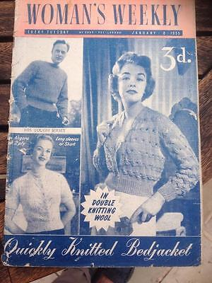 Vintage Woman's Weekly January 1955 Knitting Patterns, Fashion, Stories, Recipes