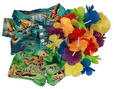 "Hawaiian Boy shirt shorts lei outfit teddy clothes to fit 15"" Build a Bear"