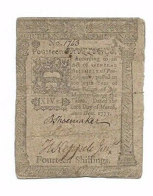 March 1773 Pennsylvania Colonial 14 shillings Note