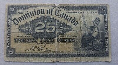 1900 Dominion of Canada 25 cent Bank Note Shinplaster Circulated Fractional 2