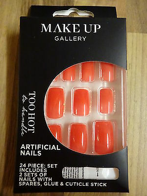 Make-Up Gallery Too Hot Orange False Nails 24 Piece With Glue New