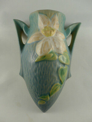 Vintage 1944 CLEMATIS Roseville Blue Wall Pocket Vase  No. 1295-8