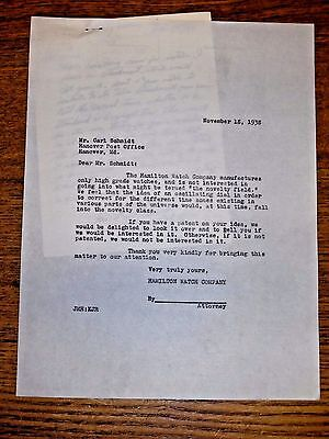 1938 Hamilton Watch Company Employee Original Public Submitted Idea Letter #24