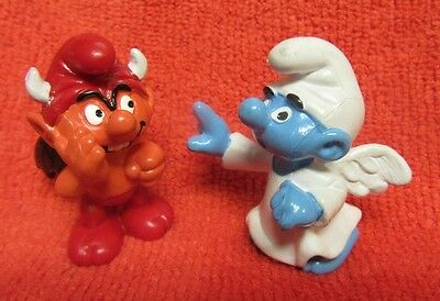 Winged Devil & Angel Smurf Figures Schleich  Pevo Hong Kong