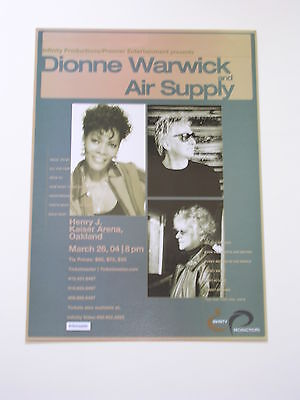 DIONNE WARWICK & AIR SUPPLY Oakland Concert POSTER by INFINITY PRODUCTIONS