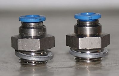 """(2 Lot)  1/4"""" OD Push-in x 3/8"""" MNPT  SS Hose Connector Fitting  FESTO"""