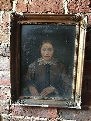 Antique 19th Century Oil Portrait Painting Of A Young Lady
