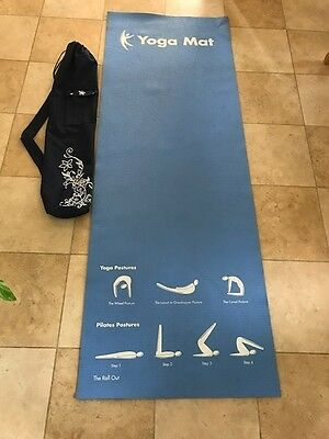 Blue Yoga/Pilates Mat with Navy Carrier Bag with Shoulder Strap