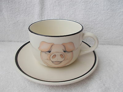 Arthur Wood Back to Front Pig Large Breakfast Cup & Saucer