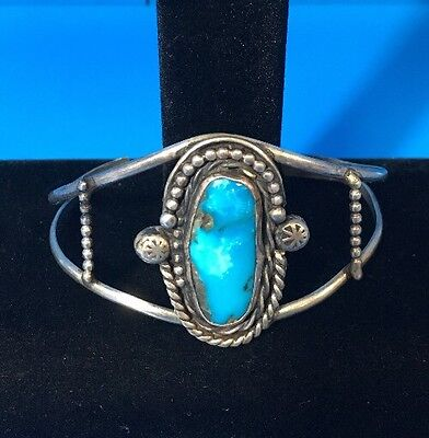 Old Pawn Native American Sterling Silver Turquoise Cuff Bracelet -E42